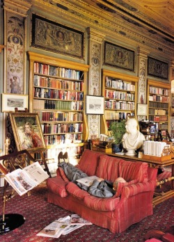 The Duke of Devonshire Taking a Nap in the Library at Chatsworth, Shot by Christopher Sykes via dustyburrito