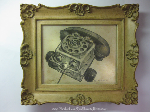 timshumateillustrations:  Just baked my TELEPHONE OF HORROR pencil sketch in a oven at 400°, and it came out awwweesomeeeee.   •Geekleetist: What a b•tchin idea!•
