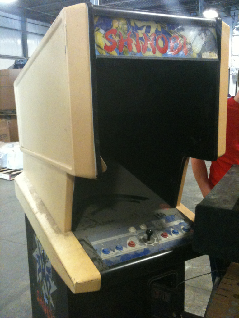 Shinobi in a Bally Sente cab. A really terrible conversion I saw at a warehouse raid I went to