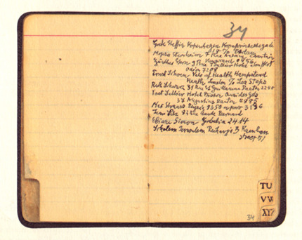 discutant:  Walter Benjamin's Paris address book. Walter Benjamin died after ingesting morphine, probably a suicide, on this day in 1940 at Portbou on the French-Spanish border.