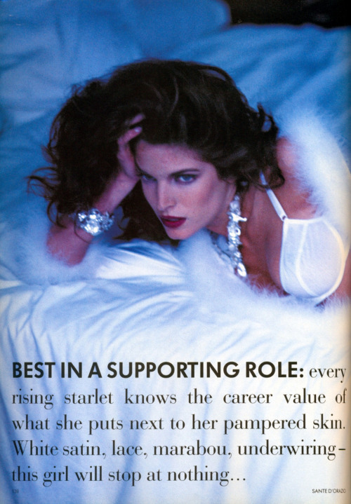 "supermodels-daily:  stephanie-seymour:  Editorial : ""Best in a supporting role"" Photographer : Sante D'Orazio Magazine : Vogue UK, August 1991   http://stephanie-seymour.tumblr.com/"