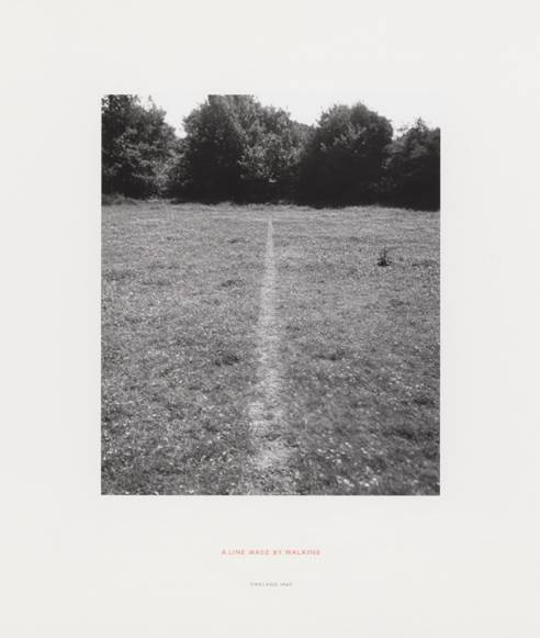treetrunks:  Richard Long (b. 1945) A Line Made by Walking, Photograph, 1967.