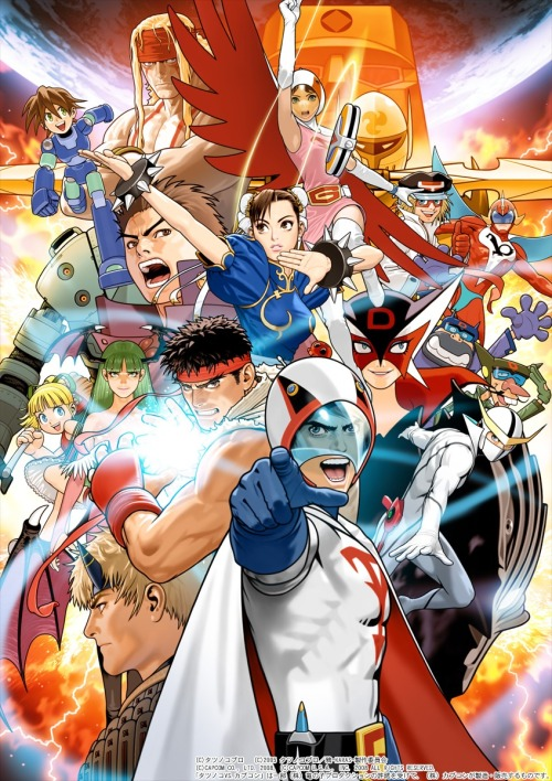 "gameandgraphics:  Tatsunoko Vs. Capcom original art by Toshiaki ""Shinkiro"" Mori (Arcade & Wii, 2008)."