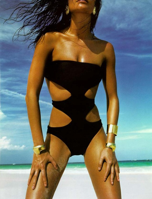 "80s-90s-supermodels:  Editorial : ""GoldCoast"" Model : Helena Christensen Photographer : Raymond Meier"