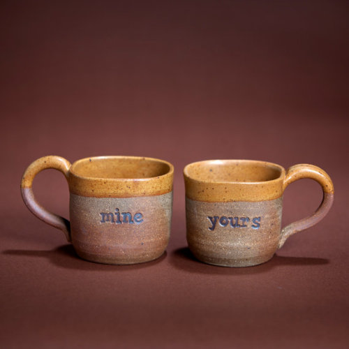 hookedonphonics:  mine/yours orange and brown set of Mugs by Lindseyostafy on Etsy