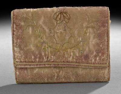 "auctionguide:  Satin ""Housewife"" Fold-Over Bag, ca 1786, in silk satin and lined  with silk, hand-stitched and embroidered overall, with pockets and  areas for storing needle and thread, small paper and pencil, keys and a  small clock, inscribed, ""Chere Souvenance"" New Orleans Auction Gallery, Fall Antiques and Art Auction, New Orleans, Oct 2nd"