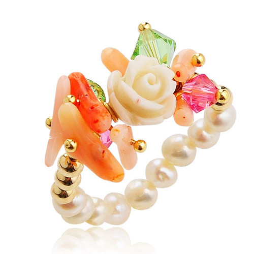 Flower Design Coral and Pearl Ring