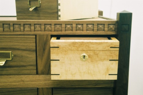 hamilton-holmes:  'Studio Filer'  —detail view of secret lock box Black Walnut, 10 drawer, ball and claw, dust shelves throughout. HHolmes 2009