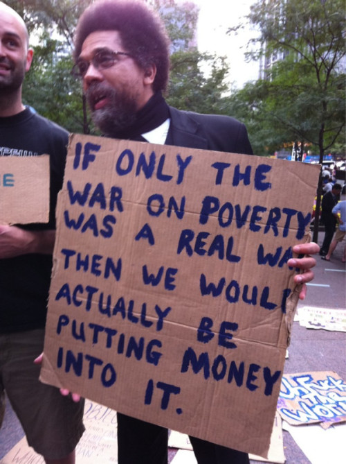 Dr. Cornel West at the Occupy Wall Street protest Tuesday evening. [via pantslessprogressive::photo by @linktothepast86]