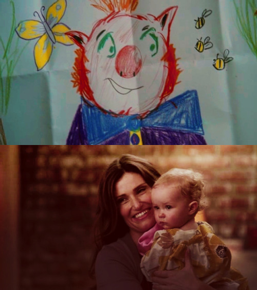 "Too Beth; ""It was supposed to be a clown, but it kinda turned out like a pig, so I call it a clown pig."""