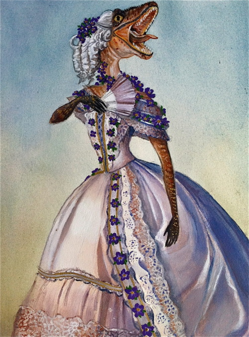"""adamazur:  """"Victorian Velociraptor with Violets."""" Acrylic and liquid gold leaf on Rives BFK. Made by Adam Mazur."""