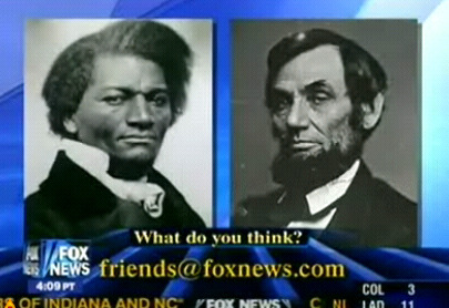 reallyfoxnews:  The 2008 topic: the famous Abraham Lincoln - Stephen Douglas debate.  Yes, that is in fact Frederick Douglass. Valiant effort, though.