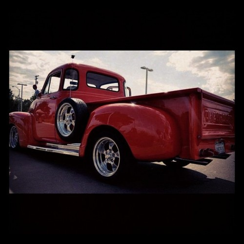 #vintage #chevy #truck #orange #rims #nice #nikon #d7000 #carshow #clouds #photography #classic #Chevrolet #pickup #lowered #sparetire #sky #angle #shiny #clean #v8 #American  (Taken with Instagram at Central Valley High School)