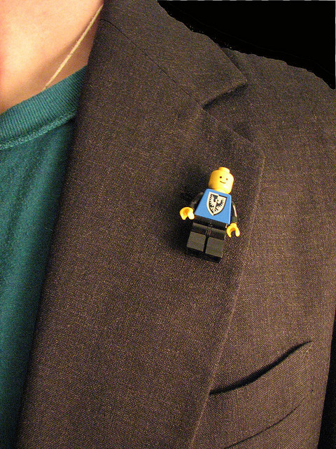 "lego-man:  ""Lego Man Pin"" by theresaownsyoursoul on Flickr. LEGO MAN pin badge. LEGO v's FASHION."