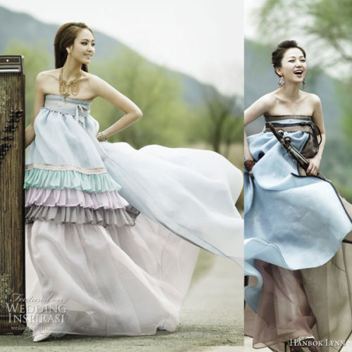 modern hanbok as a wedding dress link to the designer