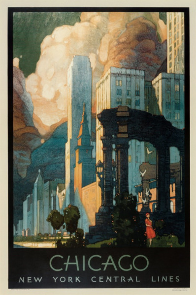 Always a sucker for vintage travel posters, this Chicago, New York Central Lines poster ticks my boxes. Fantastic colour and composition, with some great typography to match. Grab a print here