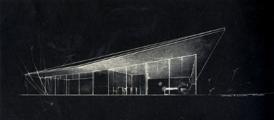 Architectural illustration by Raphael S. Soriano, from the journal Architectural Forum 77 Sept 1942: 146 See more achitectural related imagery here.