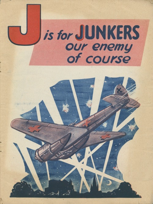 J is for Junkers our enemy of course, 1940. Page from a children's alphabet book, showing a Luftwaffe Junkers bomber in the night sky over Britain, surrounded by searchlight beams. Copyright: The Lordprice Collection / Heritage-Images.