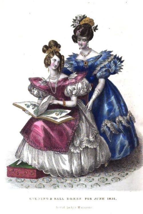 Royal Lady's Magazine, June 1831.  The sleeves on the gal in blue look positively dangerous!