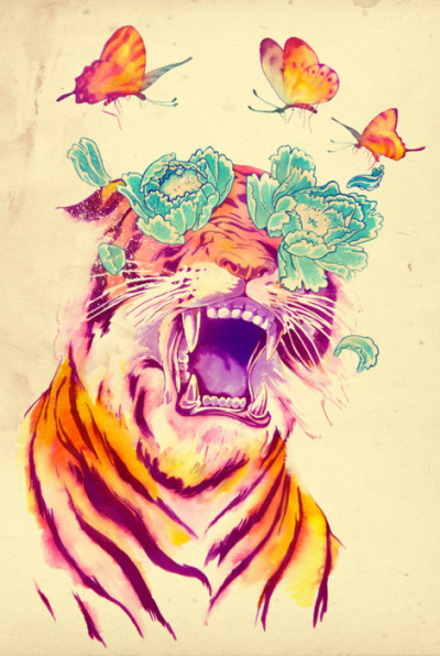 divebarblonde:  existinbrilliantcolors:  Cool tiger art, bro.  i have the butterfly on the left tattooed on my ribs. matheus lopes castro rocks.