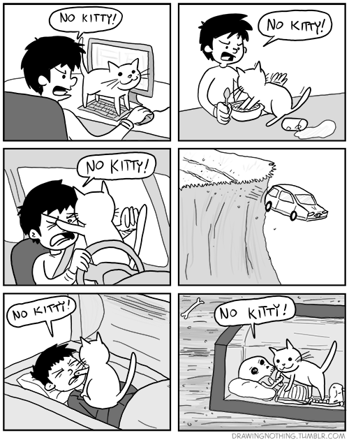 "rosalarian:  forlackofabettercomic:  drawingnothing:  Cats, yup.  This. Is so accurate that it hurts me.  I drove with a cat in the car this week. ""Oh, what is this? Your dashboard? Can I stand on it? Wheeeeeee!!!"""