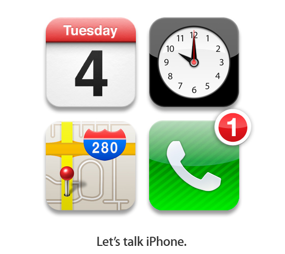 Apple uses it's own iOS symbols to invite people to it's iPhone 5 (4S?) event. (Tuesday 4th, 10am, Infinite Loop 280, 1 more thing: iPhone) Via and image credits The Loop.