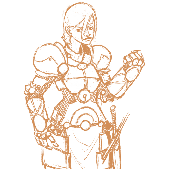 Another armored knight-lady, she has hammer arms.  I tend to repeat themes a lot, but I like the way this stuff is coming out.