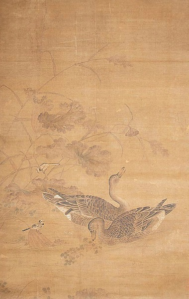 stilllifequickheart:  Huang Ch'uan Two Geese Swimming Beneath a Lotus Pod Undated