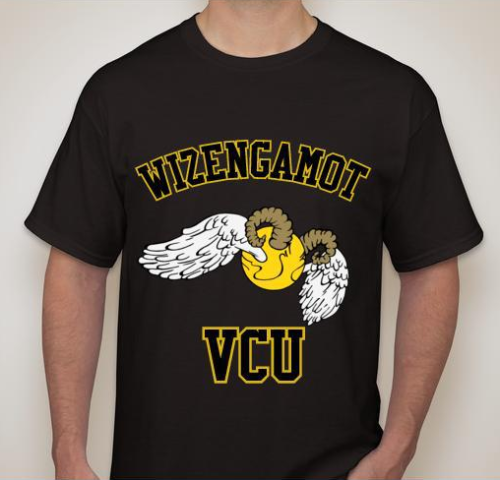 wizengamotofvcu:  Wizengamot's new shirts arrived today! This is the sample picture from the order, pics of the actual shirts coming soon! (That's a snitch with ram horns, for those who may not know that VCU's mascot is a ram.)   REJOICE REJOICE!