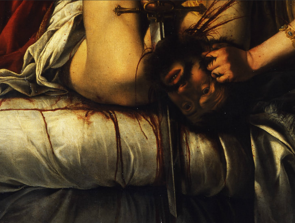 caravaggista:  Artemisia Gentileschi, Judith Slaying Holofernes, 1614-20. Detail from the Google Art Project.