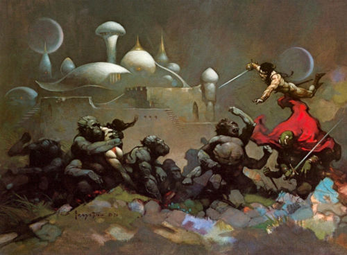 swordandsorcerytales:  Savage Apes of Mars by Frank Frazetta (1970).