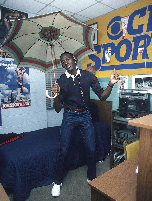 North Carolina's Michael Jordan grooves to music and dances with an umbrella during a November 1983 SI photo shoot. (Lane Stewart/SI) GALLERY: Michael Jordan: The College YearsSI VAULT: Jordan, Perkins are best one-two punch in college hoops (11/28/83)
