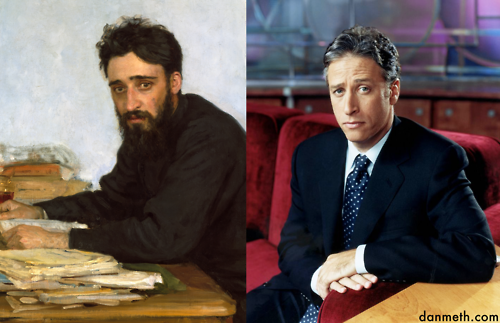 "Jon Stewart vs. Vsevolod Mikhailovich GarshinThis  weekend I was at the Met and was stopped dead in my tracks when I saw  this painting by late 19th century Russian realist Ilya Repin. I  immediately heard ""The Daily Show"" theme-song."