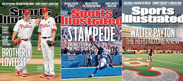 This week's issue of Sports Illustrated has three covers. The first features Philadelphia pitchers Cliff Lee and Ryan Madson as the two aces prepare for the playoffs. The second shows Bills corneback Drayton Florence returning a Tom Brady interception for a touchdown and the final is of former Bears RB Walter Payton, the subject of a just-published biography. (Phillies - Al Tielemans/SI; Bills - Al Tielemans/SI; Bears - Jonathan Daniel/Getty Images)