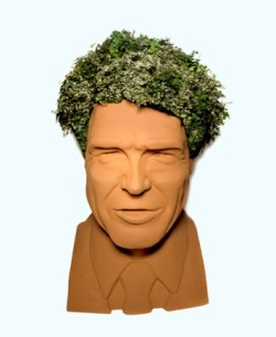 "hollybailey:  For just $4,500, this amazing, six-foot-tall Rick Perry chia head can be YOURS! ""The bust was initially used by Dairy Waste Management, a company which  manufactures Cow Wow, a liquid fertilizer made from dairy cow manure  without the manure odor.  Last year they commissioned busts of Perry and  Bill White, former mayor of Houston and Perry's opponent in the 2010  gubernatorial election.  The ""hair"" of each candidate was ivy, and  voters were asked to vote for their favorite hair (www.votecowwow.com).   Nobody had to split hairs in that race – Bill White won by a landslide.   Ivy can certainly level a playing scalp.  At last year's ACL Festival in Austin, Rick's larger-than-life head  entertained thousands of concert-goers who kissed his cheeks, picked his  nose and admired his ivy."" The $4,500 includes a bottle of Cow Wow, btw. (via The Awl)"