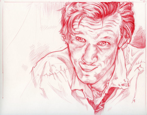 Sketch of fish fingers and custard. Delicious.  Done in red ballpoint pen.