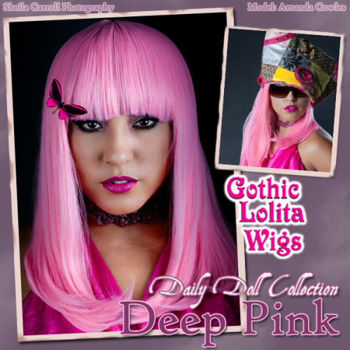 "**DAILY DOLL COLLECTION - DEEP PINK** This new 20"" collection is in response to those of you wanting straight hair w/bangs at an easy to manage length. We will be adding many more to our site as time goes on, so keep an eye out for these smooth wigs - good for not only sweet lolita, but punk, a unique take on gothic, casual, and any other type of style you can imagine! Available here at only $36 with FREE shipping in the USA (and low-priced shipping internationally!): Click here! Model: Amanda Cowles"