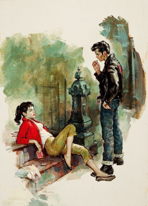 vintagegal:  Bad Girls, paperback cover by  James Alfred Meese, 1958