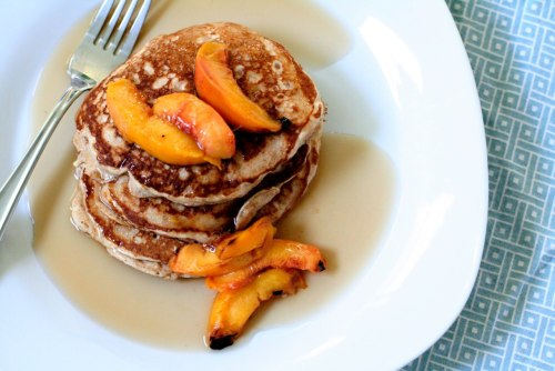 fantasticedibles:  Cinnamon Oat Pancakes with Grilled Peaches Recipe