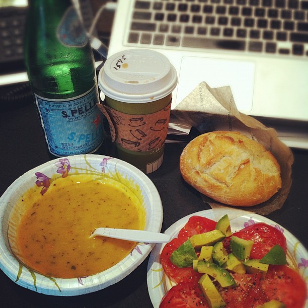 Pellegrino, Chai with soy, Vegan Harvest Squash soup, heirloom tomatoes and avocado. Happy Happy Girl.  (Taken with Instagram at LCAD)