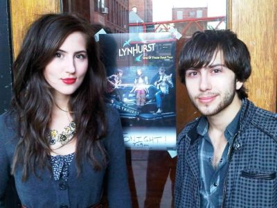 Mari and Matt before performing at Vaudeville Mews in Des Moines, Iowa.