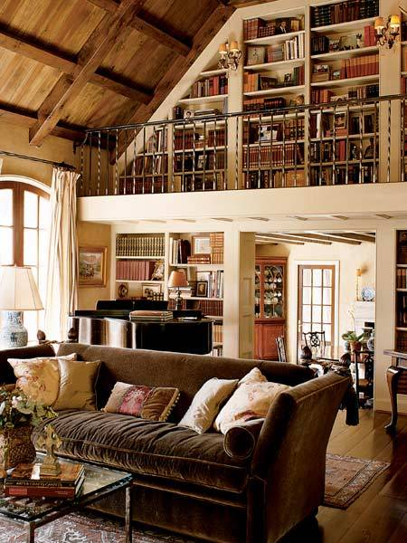 Loft library in the living room