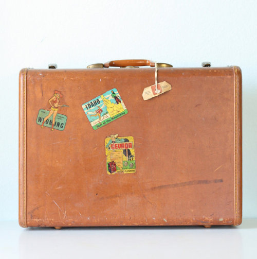 Vintage Suitcase with Decals by bellalulu on Etsy