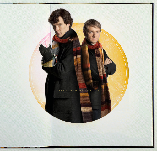 itsacrimescene:   The (Army-)Doctor and the Consulting Detective  Anonymous asked: Could  you possibly do an edit of just Sherlock and John with fours scarf?  Please?