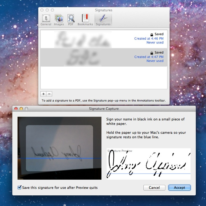 finermac:  Preview gained a signature annotation tool in Lion. Open Preferences and go to the new Signatures panel for simple instructions on how to add one or more signatures so you never have to print, sign, scan, and email something again.