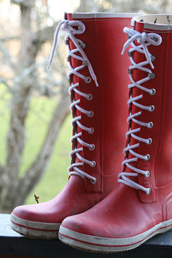 Red retro rubber boots by Craft & Creativity on Flickr.