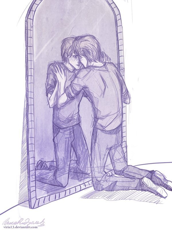 peevesthepoltergeist:  hpotterfanart:  This is a really heartbreaking picture when you realize what is happening. George is looking into the Mirror of Erised.