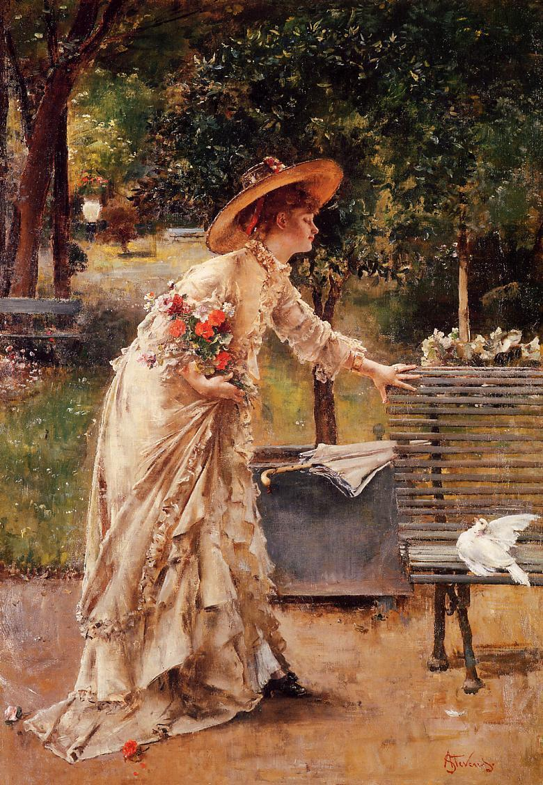 fugaciternelle:  Afternoon in the park by Alfred Stevens.
