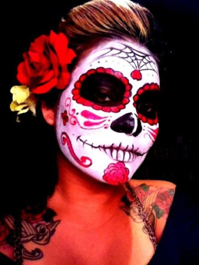 My friend was kind enough to share her photo with me. Her Dia De Los Muertos awesomeness!