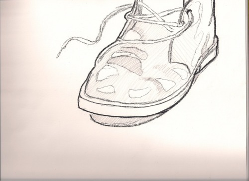 Chukka boot drawn from observation in 8 minutes with no erasing.
